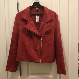 EXPRESS NEW - faux Suede Jacket - Red - Large